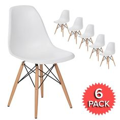 Set of 6 - DSW Dining Side Chair Wooden Legs - Eames Reproduction - White - Matte - Direct Dining Table Design, Modern Dining Chairs, Kitchen Chairs, Dining Table Chairs, Side Chairs, Eames Dsw Chair, Eames Furniture, Eiffel Chair, Furniture Styles