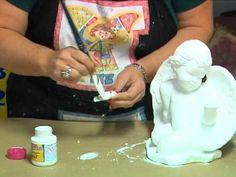 Sandra Rossi - Anjo com asa douradas - YouTube Decoupage, Diy And Crafts, Mandala, Santa, Ceramics, Youtube, Plaster Crafts, Arts And Crafts, African American Art