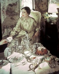 """Tea for two in this elegant moment caught by photographer Horst P. Horst for the March 1950 House & Garden.   The table is set with delicate Franciscan Mariposa pattern china and a stunning sterling silver tea set.  The model wears Christian Dior with jewelry by Cartier.""  .....my Uncle Victor gave me a set of this china. Love!!!"