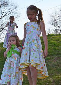 Pretty high/low circle skirt girl's dress