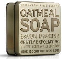 The Scottish Fine Soaps Company Exfoliating Oatmeal Soap in a Tin (100g) by The Scottish Fine Soaps Company. $13.50. Fragrance: Oatmeal. Scottish Fine Soap exfoliating. Made in Scotland. Size; 3.5 oz - 100 grams. Oat Kernel is one of the ingredients in this soap.. Gently exfoliating, this attractive 100g triple-milled Soap from the wonderful Soap Tin Collection is wrapped in Scottish Fine Soaps paper and presented in a contemporary embossed metal tin. With Oatmeal ...
