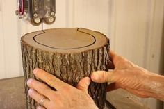 Learn how to make a hanging Bird Feeder from a natural LOG. This homemade DIY bird feeder will attract bluebirds, goldfinches, etc. to yard or garden. Rustic Bird Feeders, Wood Bird Feeder, Bird Feeder Plans, Bird House Feeder, Hanging Bird Feeders, Wood Projects That Sell, Small Woodworking Projects, Small Wood Projects, Wood Log Crafts
