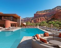 Arizona Pool surrounded by mountains at Sedona resort in Arizona.