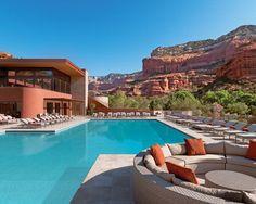 Arizona Pool surrounded by mountains at Sedona resort in Arizona.