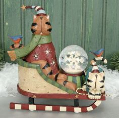 Cat In Sled With Snow Globe – Christmas Folk Art & Holiday Collectibles – Williraye Studio $40.00