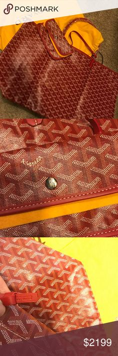 Authentic Red Goyard tote, gm, new New with dust bag, selling for my sister who got same one as me and doesn't want to keep it. Can go lower on pal serious buyers only. Firm on posh due to fees. Size 22x13x8 GM large tote size. Last photo not mine, just to show model wearing it. Others all of my photo! Goyard Bags Totes
