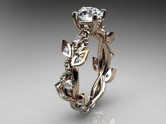 14kt  rose gold diamond leaf and vine wedding ring,engagement ring ADLR59. $975.00, via Etsy.