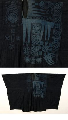 Africa | Riga with Aska Tawkas (Eight Knives) Design / Robe for a dignitary, chief or nobleman | Hausa, Nupe or Yoruba people of northern Nigeria | Early 20th century | Cotton strip weave dyed with indigo (etu), silk embroidery