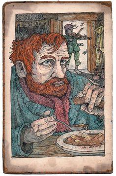 'The Hangman's Jig' - Jonny Dixon Illustration Art, Illustrations, Keith Haring, Prehistoric, Label, Graphics, Thoughts, Drawings, Colors