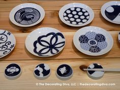 Blue and White Japanese Porcelain Dinnerware Collection KOMON from Kiahara. | The Decorating Diva, LLC