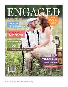 8 x 10 Engagement Magazine Cover Save the Date by PrintFrameHang, $7.00