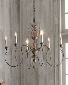 Salento Vintage-Copper Six-Light Chandelier at Horchow. like this chandelier for the study. Farmhouse Lighting, Chandelier Design, Chandelier Lighting, Farmhouse Chandelier, Home Lighting, Lights, French Chandelier, Rustic Chandelier, Candle Chandelier