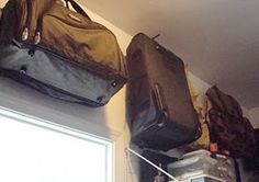 Tips for storing luggage-  Think vertical: Use the dead space way up high in your closet. Build a shelf at the tip top of your closet to stash luggage. Or install a hook at the top of the closet ceiling and suspend the suitcase from above.