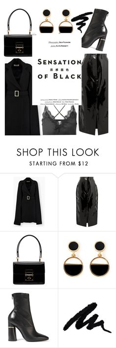 """""""Mission Monochrome: All-Black Outfit"""" by trinirockstarr ❤ liked on Polyvore featuring Solace, Dolce&Gabbana, Warehouse, 3.1 Phillip Lim, Cami NYC, Vision and allblackoutfit"""
