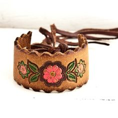 Floral Accessories Boho Chic Fashion Leather Cuff by rainwheel, $35.00