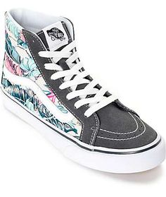 Vans Sk8 Hi Slim Tropical Grey Shoes (Womens) huge fan of high top shoes really nice design