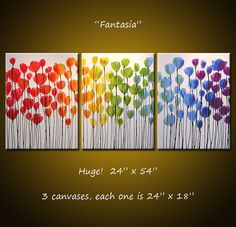 Large Flowers Abstract Painting Modern Floral Garden .. red yellow blue green ...24 x 54 ... Fantasia, Amy Giacomelli