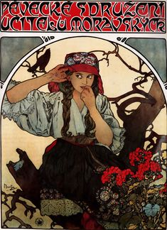 Alfons Maria July 1860 – 14 July often known in English and French as Alphonse Mucha, was a Czech Art Nouveau painter and decorative artist - Moravian Teachers Choir, 1911 Mucha Art Nouveau, Alphonse Mucha Art, Art Nouveau Poster, Poster Art, Poster Colour, Vintage Art, Vintage Posters, Illustrator, Jugendstil Design