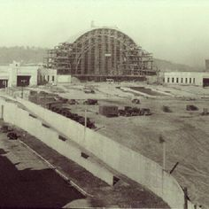 Timeline Tuesday 7/31/2012: February, 1932: As work continues on the framing out of the Union Terminal dome, the north and south wings near completion.