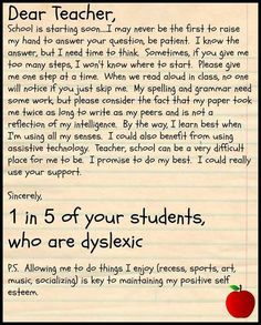 Teachers: 1 in 5 of your students is dyslexic. Dyslexia Newsletter - August 2015