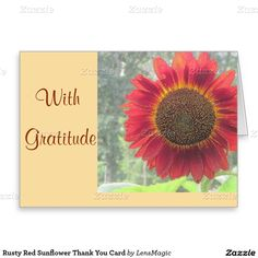 Rusty Red Sunflower Thank You Card