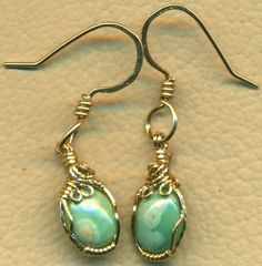 Variscite Gold Wire Wrap Earrings