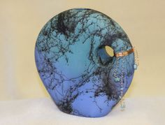 Teal and blue horse hair vase with copper accents. by DakotaBones, $110.00