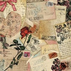 """Love Letters; 12"""" x 12"""" love letter themed scrapbook paper featuring a variety of love letter in a collage with a red rose."""