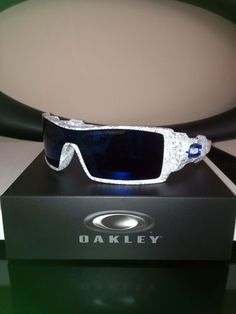 Brand New Custom Oakley Sunglasses Oil Rig White Ghost Text Blue 'O' | eBay