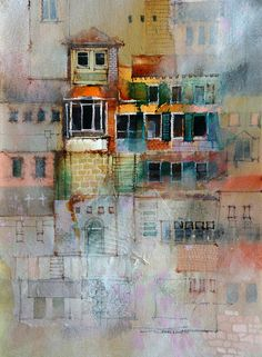 texture techniques by John Lovett, using a combination of watercolor, ink, pastel and gouache to build up convincing, visual texture in a watercolor painting. Art Watercolor, Watercolor Landscape, Landscape Art, Watercolor Texture, Landscape Paintings, Watercolor Techniques, Painting Techniques, Painting Lessons, Painting Tutorials