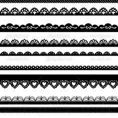 Conjunto de fronteras dibujadas a mano encaje papel punch — Ilustración de stock #12869546