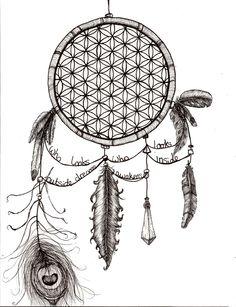 dream catcher pen art | Pen drawing of a dream catcher in casing the flower of life – 2013