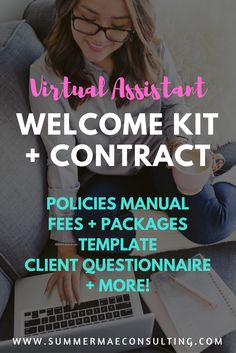 Virtual Assistant Welcome Kit and contract - Customizable doc includes fees + packages template, policies manual, client questionnaire and more! how to find a job Business Management, Business Planning, Business Tips, Online Business, Money Management, How To Make Money, How To Become, Welcome Packet, Virtual Assistant Services