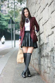 crimson boutique blazer - black Zara skirt - maroon Initial tie - black Alexande