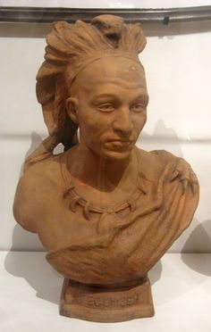 """1896 Bust of Tech-kum-thei (Tecumseh) at the Royal Ontario Museum, Toronto - From the curators' comments: """"Tech-kum-thai (c. 1768-1813) was a Shawnee chief who led a confederacy of tribes from the Great Lakes region in support of the British, not out of loyalty to the Crown but because he believed it would benefit his own people. He died on October 5, 1813 at the Battle of Moraviantown (now Thamesville, Ontario)."""""""