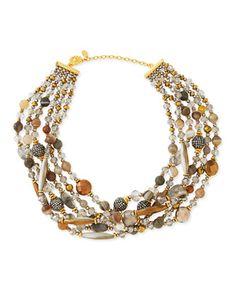 Chunky Multi-Stone Necklace, Gray by Jose & Maria Barrera at Neiman Marcus.
