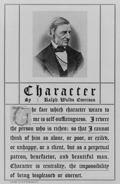 """Commemorative or keepsake letterpress print, suitable for framing, of quote from Emerson's essay """"Character"""", includes photomechanical reproduction of engraving of head-and-shoulders portrait of Emerson, facing right."""