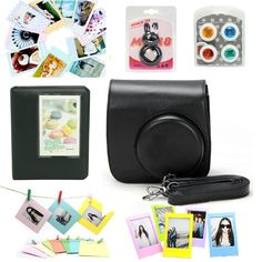 CLOVER Accessory Bundles Set For Fujifilm Instax Mini 8 Instant Camera Case Bag/ Album/ Close-Up Lens / Wall Hanging Frame/ Photo Frame/ Sticker Borders - Black * Review more details here (This is an amazon affiliate link. I may earn commission from it)