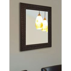 American Made Rayne Dark Embellished Vanity Wall Mirror (32 x 38), Dark Mahogany