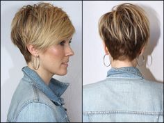 Short and Asymmetrical Hair. Really short in back, longer on top.
