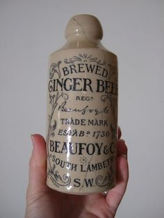 Victorian BEAUFOY & CO London DOULTON LAMBETH Stoneware GINGER BEER BOTTLE