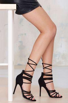 Nasty Gal Wrap Me Up Suede Heel - Black Lace-Up Heels