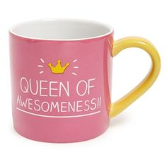 Wild and Wolf 'Queen of Awesomeness' Mug ($10) ❤ liked on Polyvore featuring home, kitchen & dining, drinkware, pink, wizard of oz mug, coffee mugs, pink mug, wild & wolf and wizard of oz coffee mug