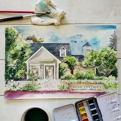 The cottage was where the couple had their honeymoon, if I remember correctly. This painting flew all the way to Canada. River Cottage, Cebu, Anniversary Gifts, Philippines, Watercolor, Instagram Posts, Paintings, Birthday Presents, Pen And Wash