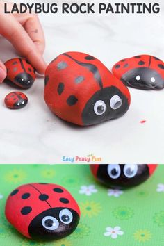 Cute Painted Ladybug Rocks – Rock Crafts for Kids When you go on a next nature walk (or a trip to the dollar store) be sure to pick up some rocks as Rock Painting Patterns, Rock Painting Ideas Easy, Rock Painting Designs, Rock Painting Ideas For Kids, Summer Crafts For Kids, Spring Crafts, Art For Kids, Kids Crafts, Pebble Painting