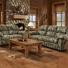 Hanover Camo 3 Piece Living Set: Sofa, Loveseat, Recliner, Camo Three Piece Living Room Set features expertly-crafted furniture built to stay comfortable for decades. This set includes a sofa, loveseat and recliner. Every piece in t Loveseat Recliners, Sofa And Loveseat Set, Couch Set, Sleeper Sofas, Sectional Sofas, Camo Living Rooms, Living Room Furniture, Furniture Sets, Furniture Stores