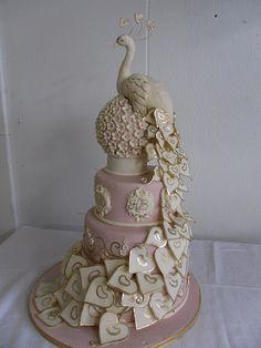 White Peacock Wedding Cake... gorgeous!