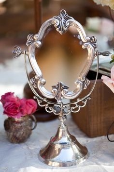 A great makeup mirror is so important. This one is pretty but you really want a lighted mirror that gives you Daylight light. Save this one for a beautiful vanity display. Vintage Mirrors, Vintage Vanity, Vintage Frames, Fairest Of Them All, Through The Looking Glass, Vanity Set, Vanity Room, Kind Mode, Decoration