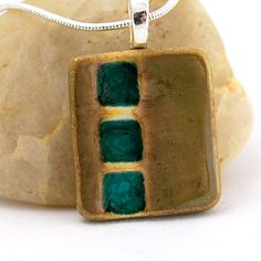 Ceramic & Recycled Glass 3 Squares Necklace in Fossil - FREE SHIPPING via Etsy