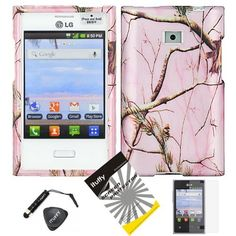 4 items Combo: ITUFFY Mini Stylus Pen + LCD Screen Protector Film + Case Opener + Silver Pink Pine Tree Leaves Camouflage Outdoor Wildlife Design Rubberized Snap on Hard Shell Cover Faceplate Skin Phone Case for Straight Talk LG Optimus Logic L35G/ /Net 10 LG Dynamic L38c / LG Optimus Zone VS410PP by camo, http://www.amazon.com/dp/B00FHCQOW4/ref=cm_sw_r_pi_dp_GFtFsb0ZCS20H